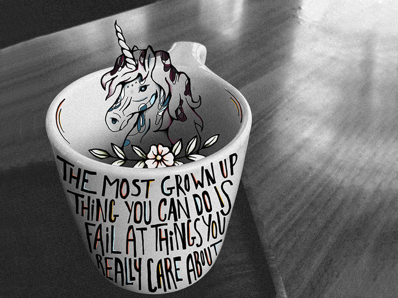 The most grown up thing unicorn bedding netflix unicorns coffee cup coffee draw flower illustration illustration art flower procreate app procreate hand lettered lettering typography quote illustration unicorn