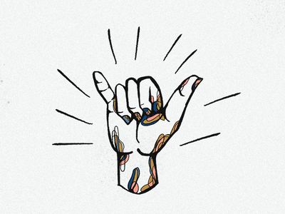 HANG LOOSE 🤙 aloha surfer shaka hawaii illustration icon procreate hand hand illustration hang loose surf art surf
