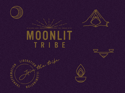 MoonLIT Tribe branding star mudra app branding app  design moon logo yoga moon vector logo badge design identity icon typography illustration branding