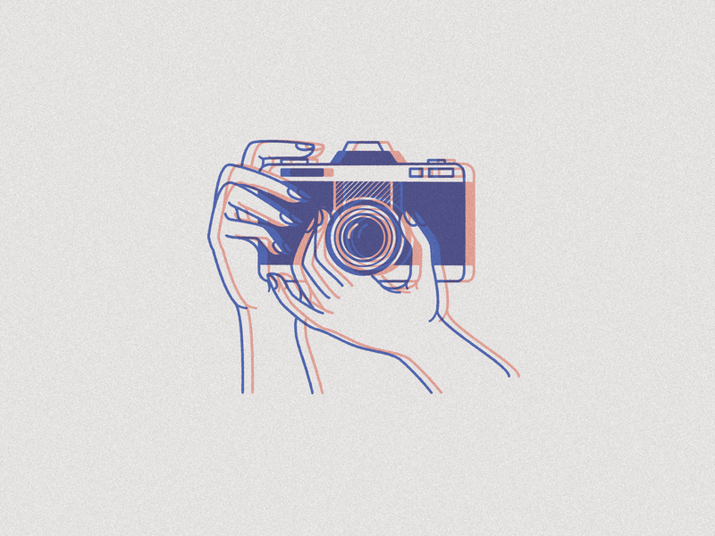 Camera vector identity icon hands camera illustration art branding illustration