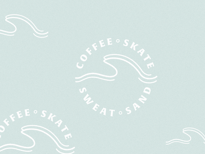 Coffee•Skate•Sweat•Sand vector illustration branding skateboard design skateboard surf design identity sand coffee wave badge design badge
