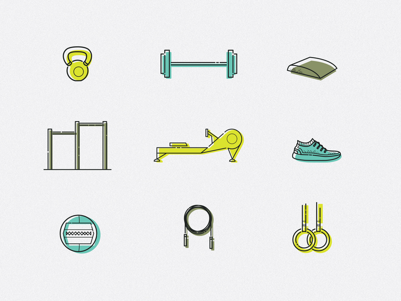 CrossFit Icons weightlifting kettlebell running branding illustration workout fitness icons fitness icons design icons crossfit