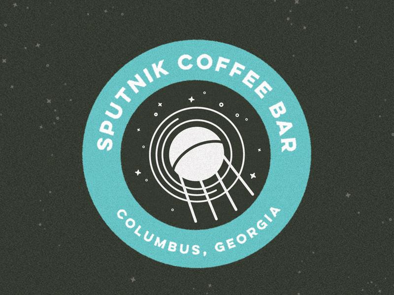Sputnik Coffee Bar badge design badge branding and identity illustration design identity coffee shop stars space satellite branding design coffee branding branding coffee
