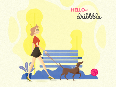 hello dribbble illustration vector