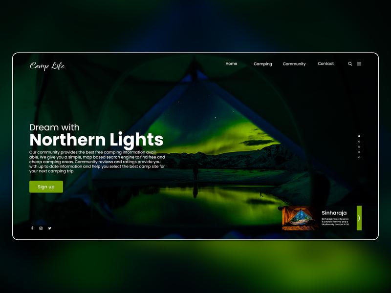 """Landing Page UI designs for """"Camp Life"""" landing page concept landing page landing page design web ux ui"""