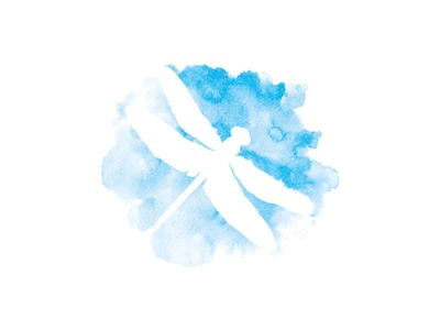 Dragonfly blog paint branding bug blue vector logo watercolor dragonfly