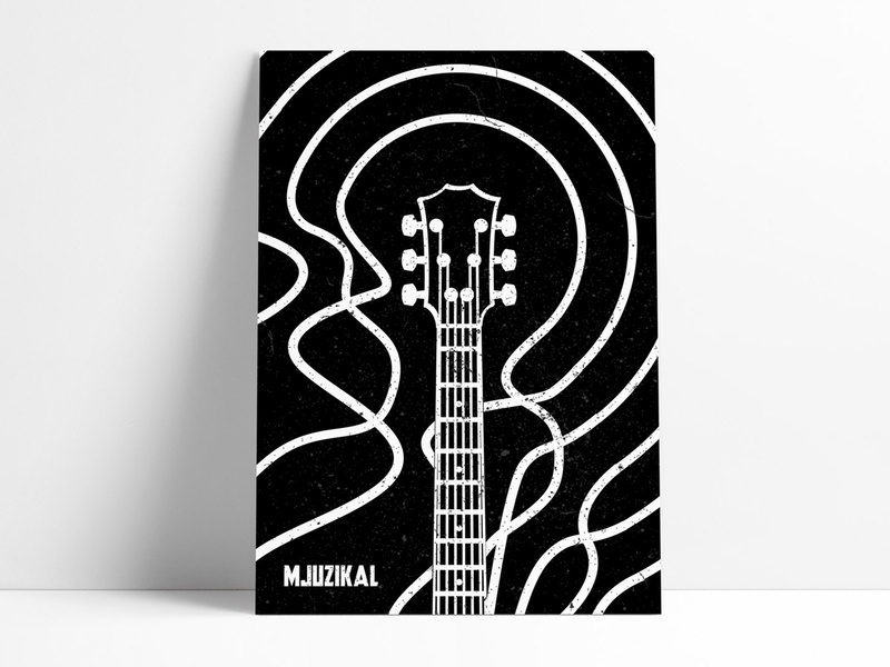 Musical audio waves microphone guitar instrument musical minimal design illustrator illustration poster music