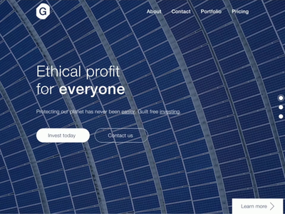 Daily UI #3: A landing page for ethical investing