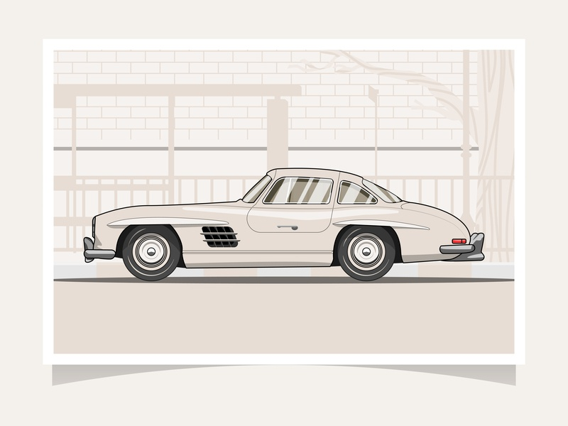 Classic Car | Mercedes-Benz 300 SL Gullwing vintage car design flat illustration illustration vector retro graphic flat design flat classic