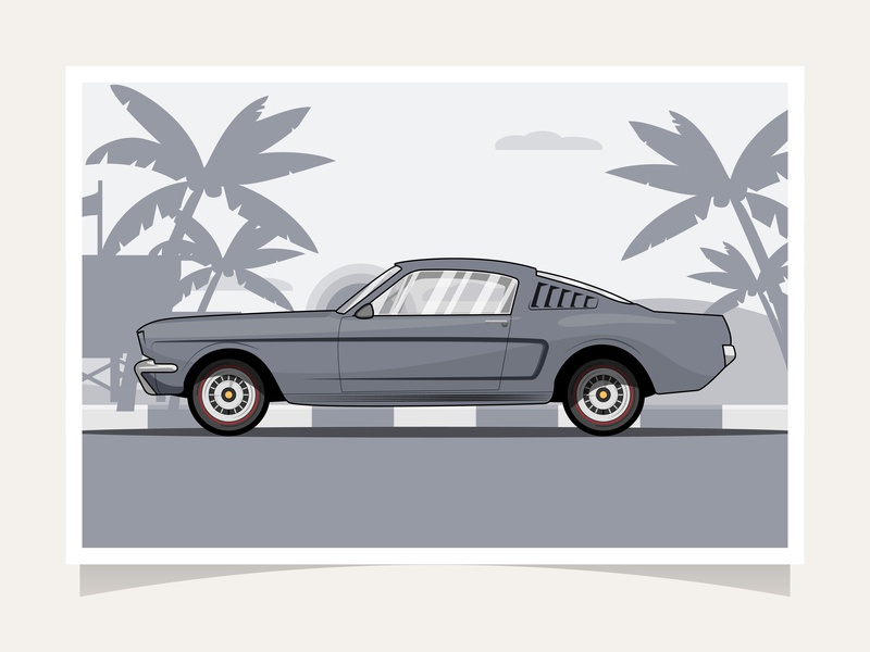 Classic Car | RB Espionage Mustang vintage vector retro illustration flat graphic flat illustration flat design classic design car