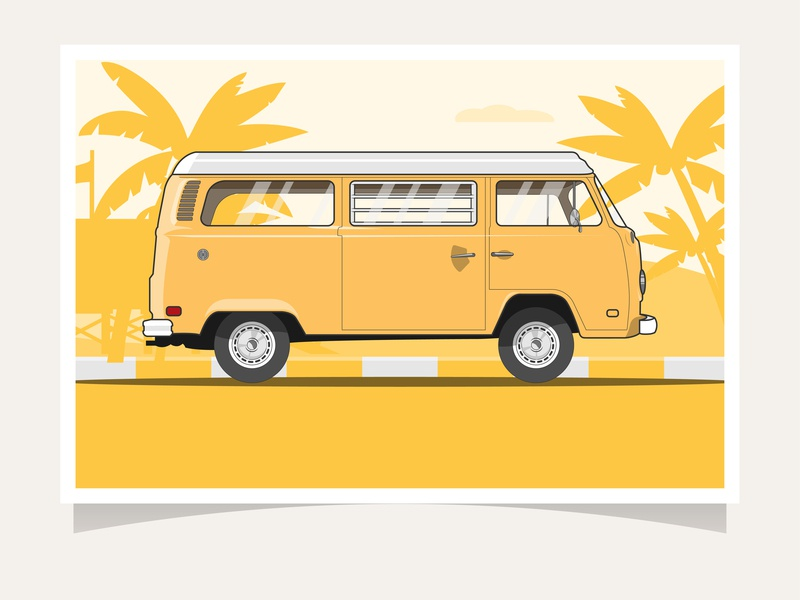 Classic Car | VW Kombi vintage vector retro illustration graphic flat illustration flat design flat design classic car