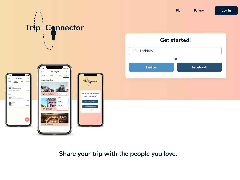 Homepage- Trip Connector branding design app website logo web ui ux