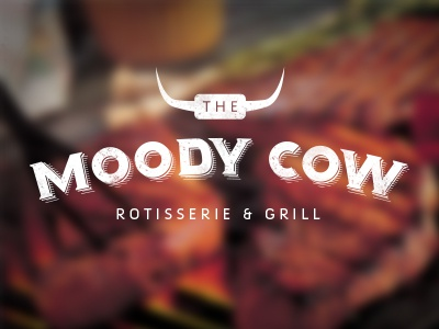Moody Cow Initial Design 1 logo design cow steak rotisserie grill horns logo restaurant
