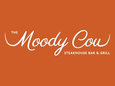 Moody Cow Initial Design 2 v1 logo design cow steak rotisserie grill horns logo restaurant