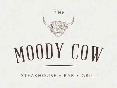 Moody Cow Initial Design 3 v1 logo design cow steak rotisserie grill horns logo restaurant