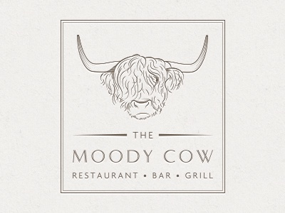 Moody Cow Initial Design 3 v2 logo design cow steak rotisserie grill horns logo restaurant
