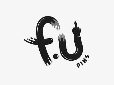 F U Pins - Logo Design middle finger monotone fuck you pins vector logo