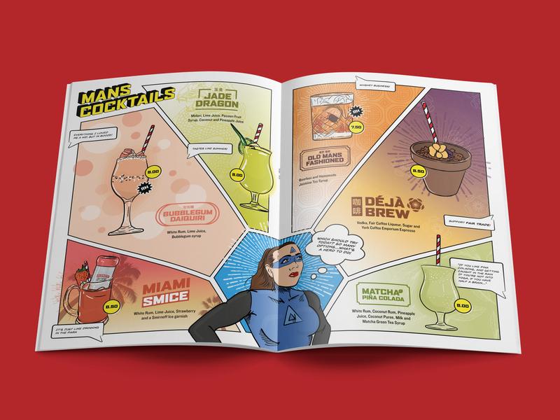 Mans Market - Cocktail Menu alcohol cocktail restaurant illustrator indesign superheroes superhero golden age vector menu illustration
