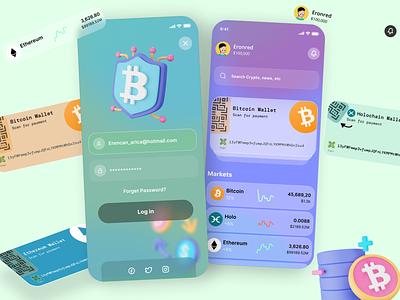 Crypto App, BitWallet 💳 typography draw illustration app ux 3d ui