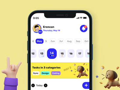 Task manager - Calendar✨ task manager calendar mobile illustration app design ux ui