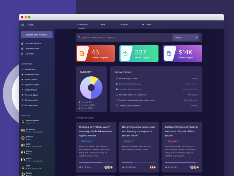 iTask Dark Version product design web design user interface saas design saas time tracking task management project management ui design dashboard design web app dark theme ui dark app dark ui dark mode