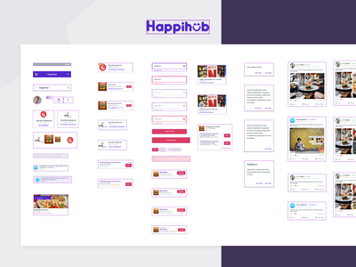 HappiHub Component Library & Styleguide product design interface branding ux mobile figmadesign design library design system android app typogaphy color palette styleguide component library figma