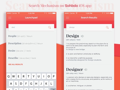 Search Mechanism ux ui interface bold typography red orange suggestion dictionary ios application interface search
