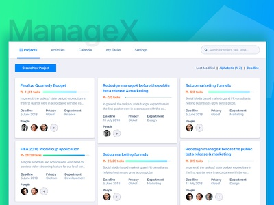 Managex - Redesign [WIP] wordpress interface ui project manager dashboard web