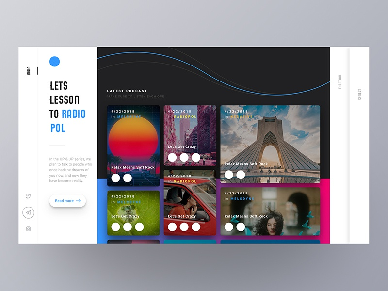 Radio Pol - Lesson to podcasts colourful motion gradient interface ux interaction ui radio
