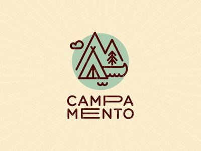 CAMPAMENTO logo summer camp tree mountains canoe tent
