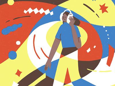 Podcast music listen editorial illustration podcast