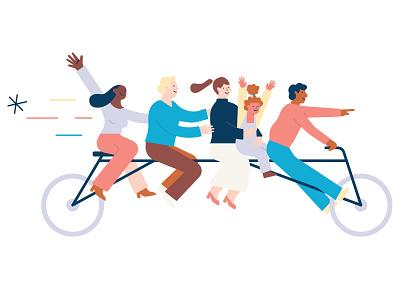 ADHD Association Norway Illustration fun family bicycle adhd illustration