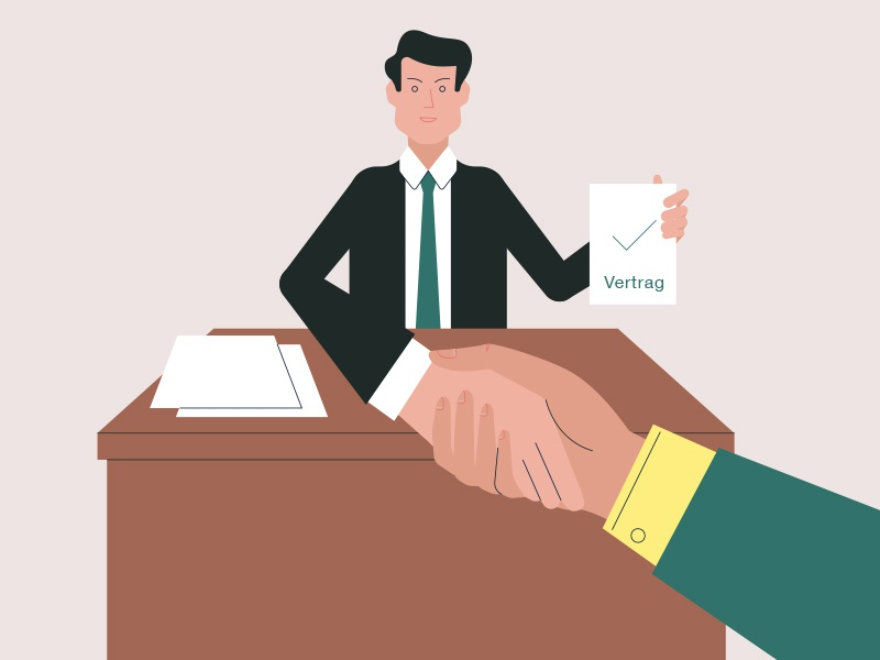 Hired! approval tie suit meeting handshake contract hire