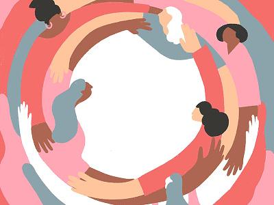Support balanceforbetter illustration power women empowerment hug strenght together help iwd support women