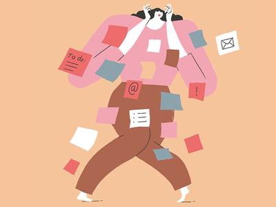 Overwhelmed march balance for better work post it feminism stress