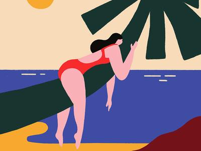 Hiding from the heat sea sun palmtree heat summer