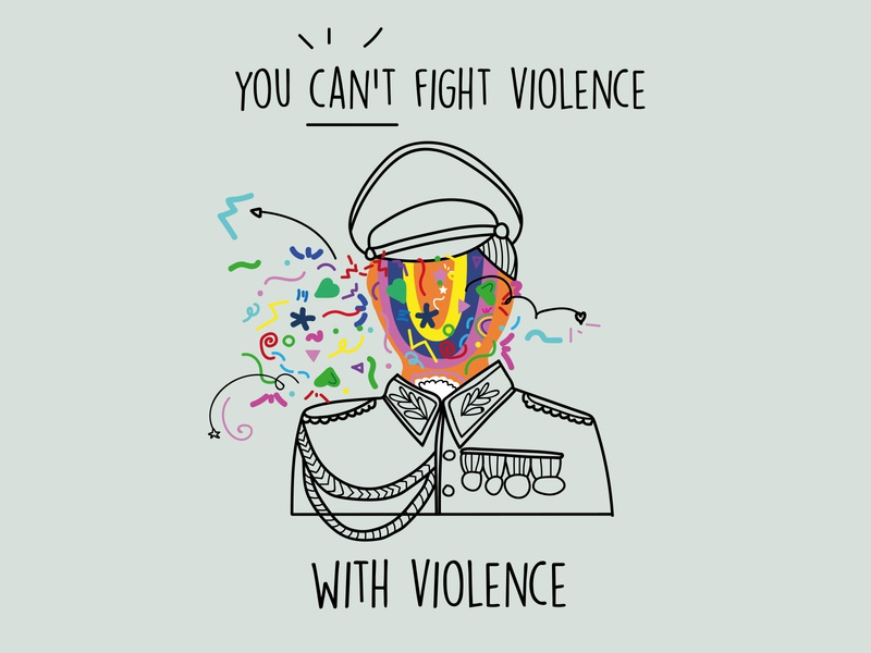 No to violence military icon design illustration peaceful peace violence