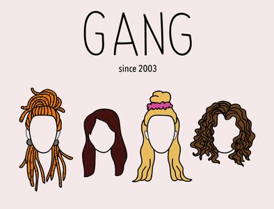 Gang Friendship dread hair flat icon illustration girl face doodle friendship