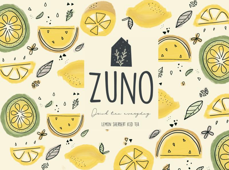 ZUNO - Lemon pattern tea pattern lemon logo design branding illustration