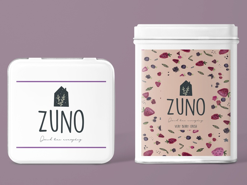 ZUNO - fruit tea pattern strawberry berry tea branding design illustration