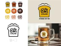 crumbs brewing logo beer pattern branding icon design illustration