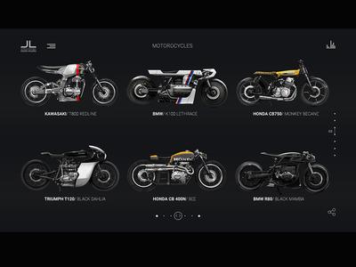 Moto Studio. Page with motorbikes.