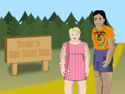 Birdy and Kent at Camp Yellow Brick original characters portrait cartoon animation scenery scene environmental design environment character design character illustration illustrator vector design
