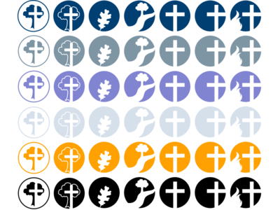 Tree, Flame, and Cross Icons