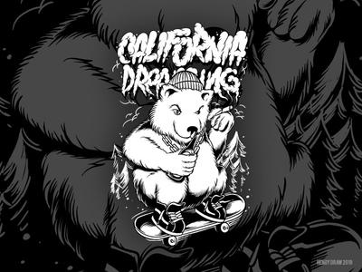 Bear Character Illustration for California Dreaming
