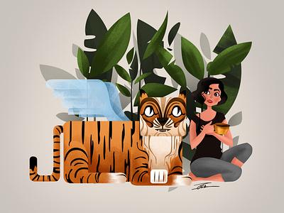 Hey kitty whats up? illustration art smal talk characterdesign vector design girl tiger illustraion