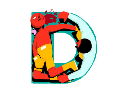 D is for Defeat boxer boxing lettering illustration