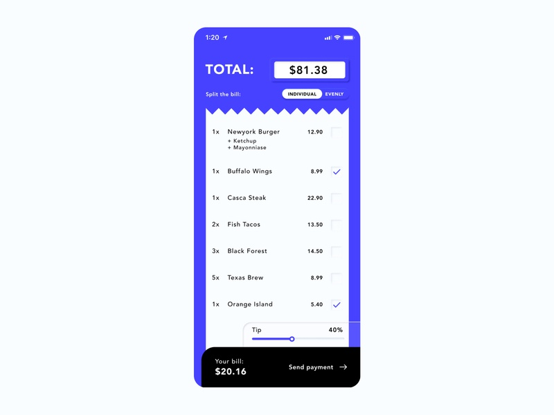 Split bill calculator