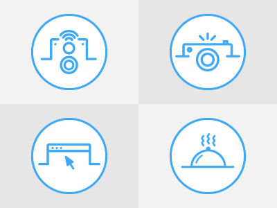 new icons for wix business verticals music photography general online business and food