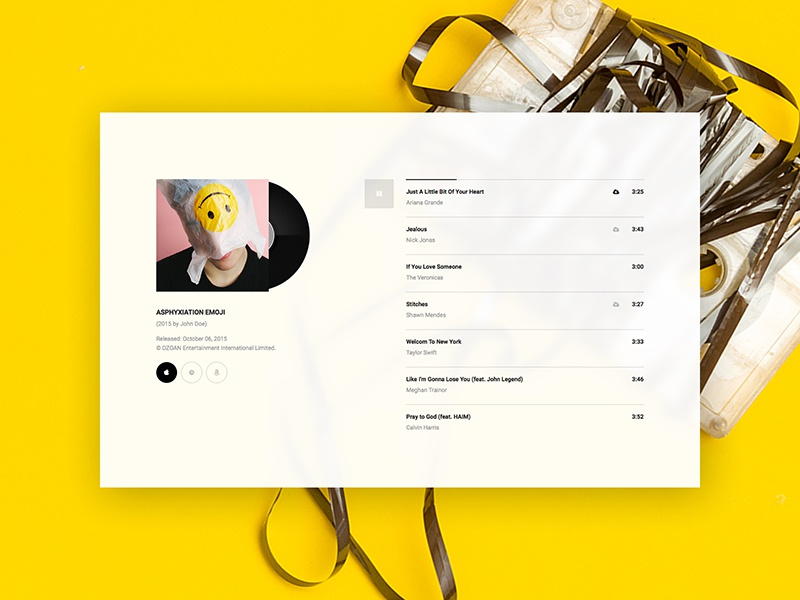 Hugo | Album Player freebie free player album ui hugo design music bands psd sketch dzoan